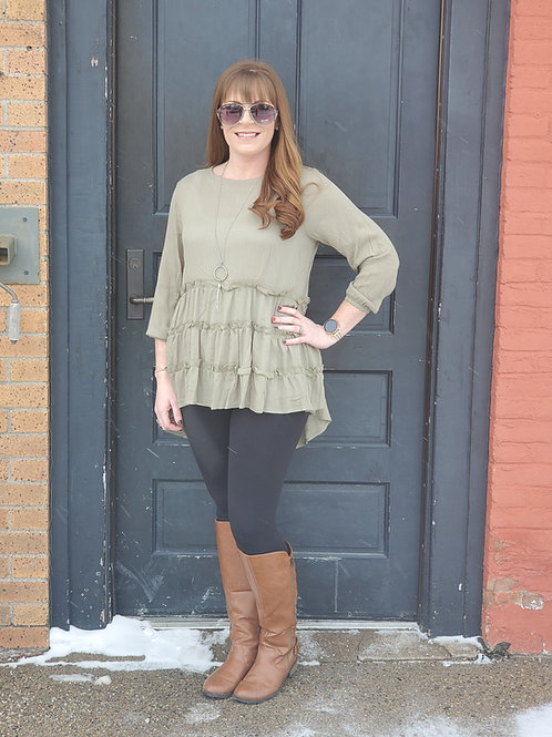 Green Ruffle Long Sleeve
