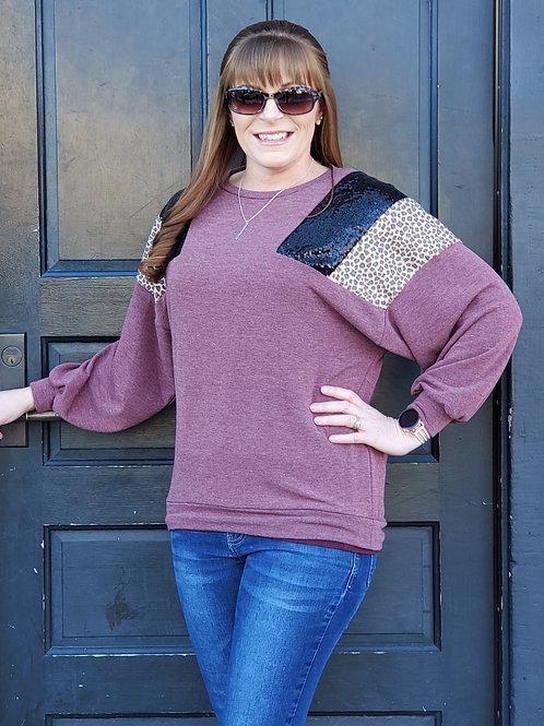 Vintage Burgandy Sparkle Lightweight Sweatshirt