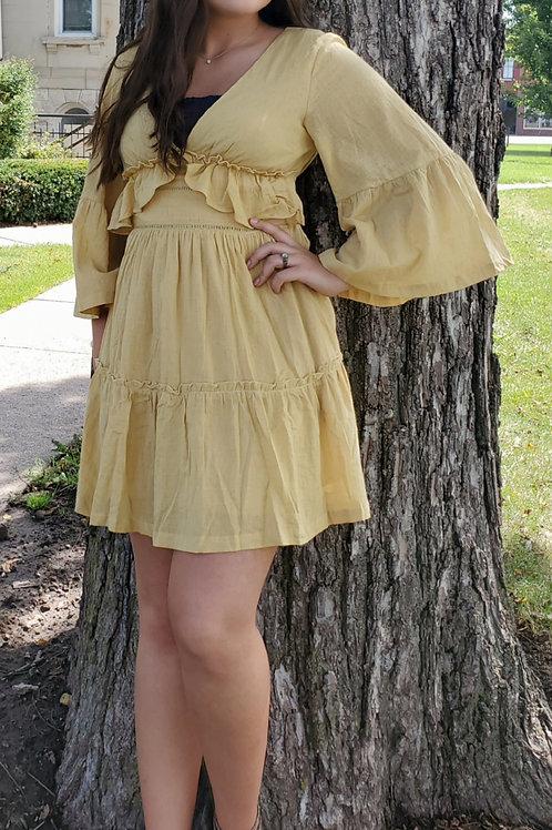 Mustard Bell Sleeve Dress