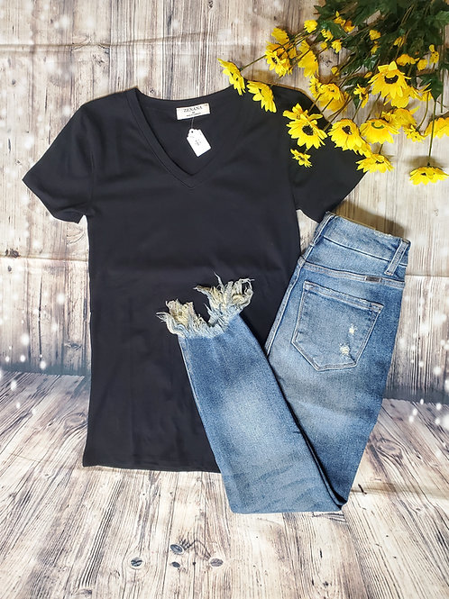 Black V-Neck Basic Tee