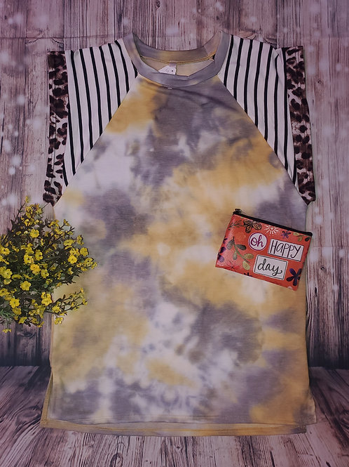 Yellow tie-die with leopard