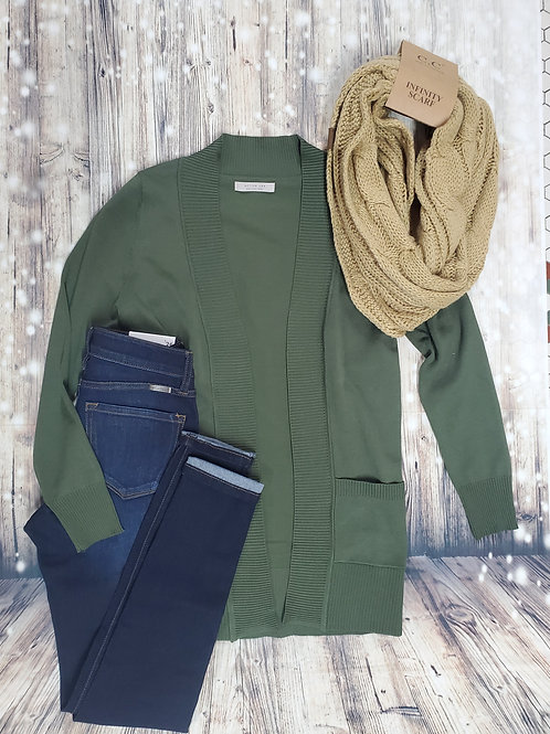 Light Olive Cardigan With Pockets