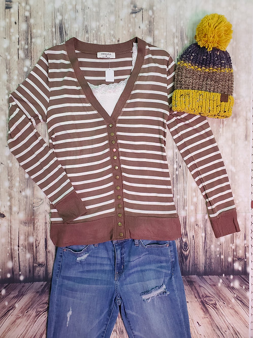 Mocha Striped Snap Cardigan