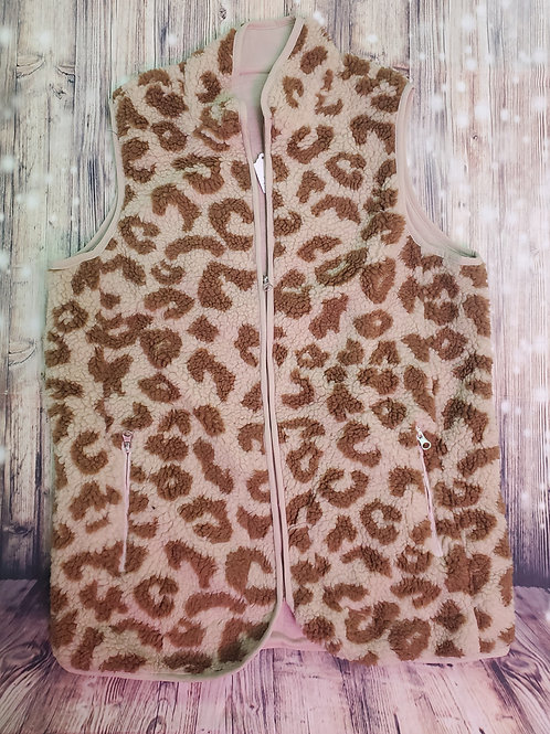 Brown Animal Print Sherpa Vest