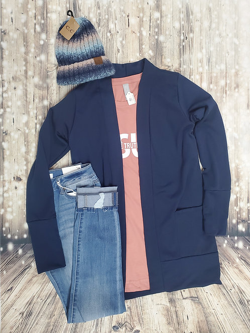 Navy Cardigan With Pockets