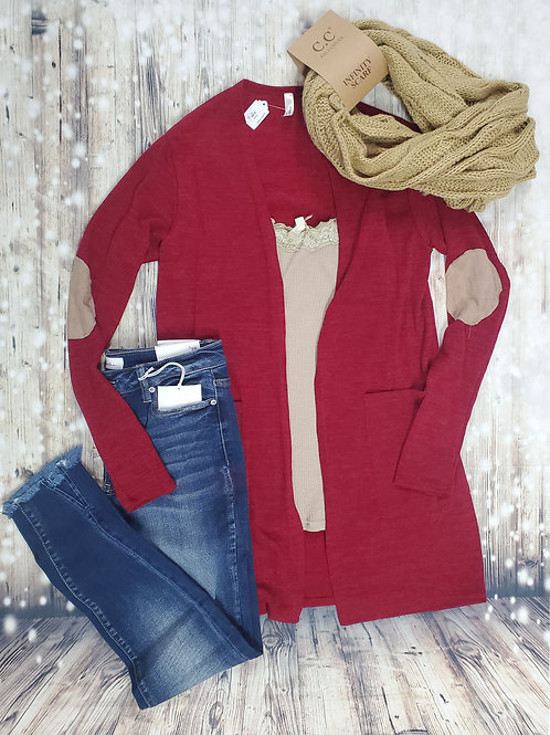 Deep Red Lightweight Cardigan With Elbow Patch