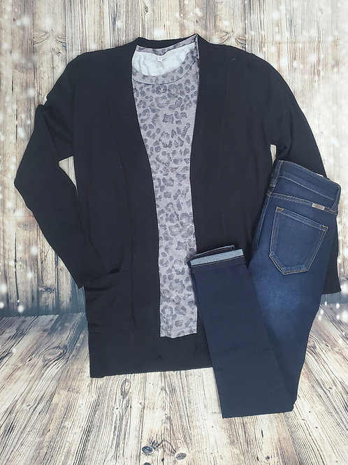 Black Lightweight Cardigan With Pockets
