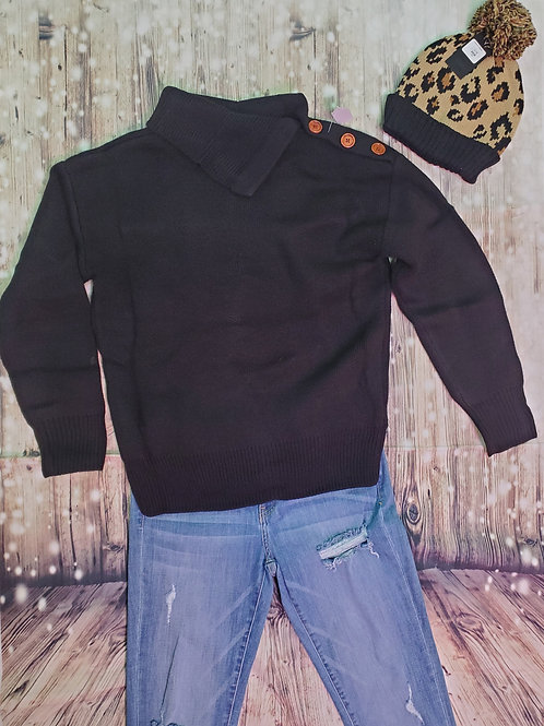Black Sweater With Button Detail