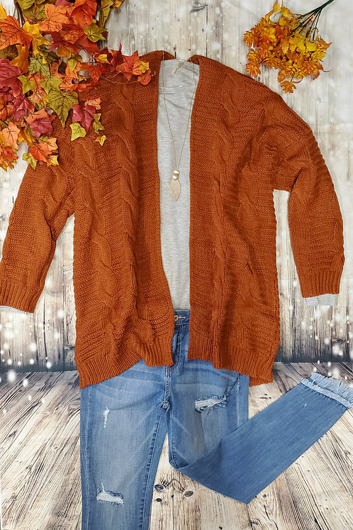 Rust Cable Knit Cardigan
