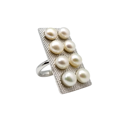 LOVE IS A DRUG FRESHWATER PEARL GOLD PLATED SILVER RING BCLC90RIWG