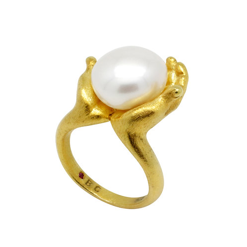 FRESHWATER PEARL IN SILVER WITH 18K GOLD PLATED RING