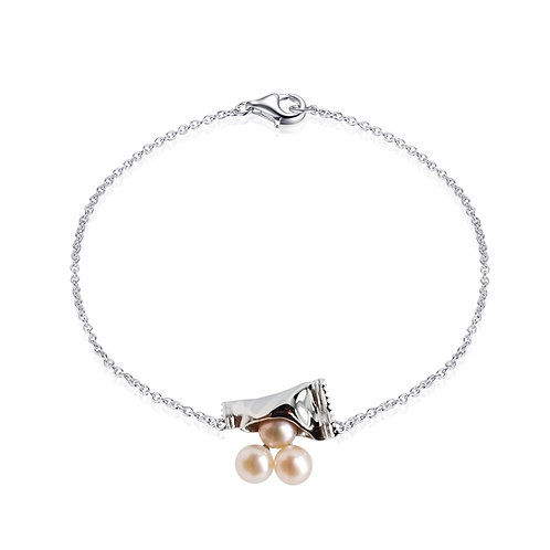 FRESHWATER PEARL GOLD PLATED SILVER BRACELET BCSS65BRWG-PP