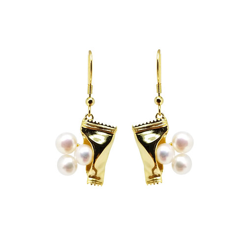 FRESHWATER PEARL GOLD PLATED EARRINGS BCSS64ERYG-WP