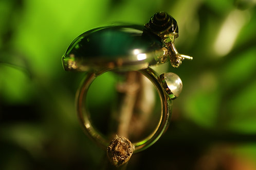 THE SECRET GARDEN SNAIL MALACHITE GOLD PLATED SILVER RING BCSG98RIYG