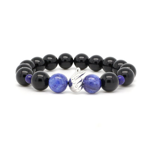KYANITE, BLACK AGATE BRACELET