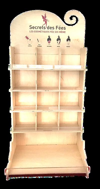 Présentoir en Bois 12 cases vide + tablette pour 16 références