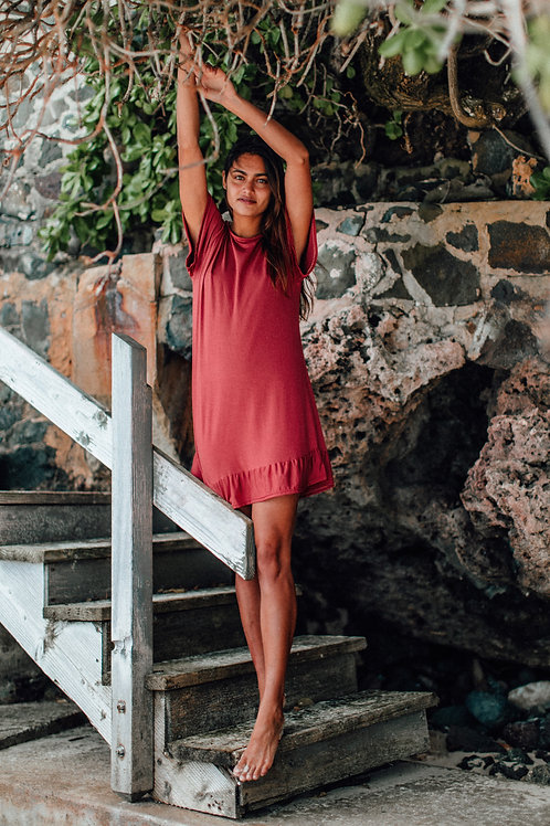 Pioneer Dress in Spicy Coral