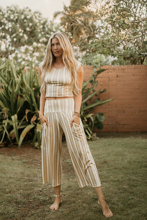 Manoa Pant in Beige Stripe