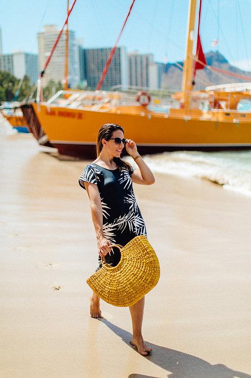 Devynn Midi Dress in Palm Noir