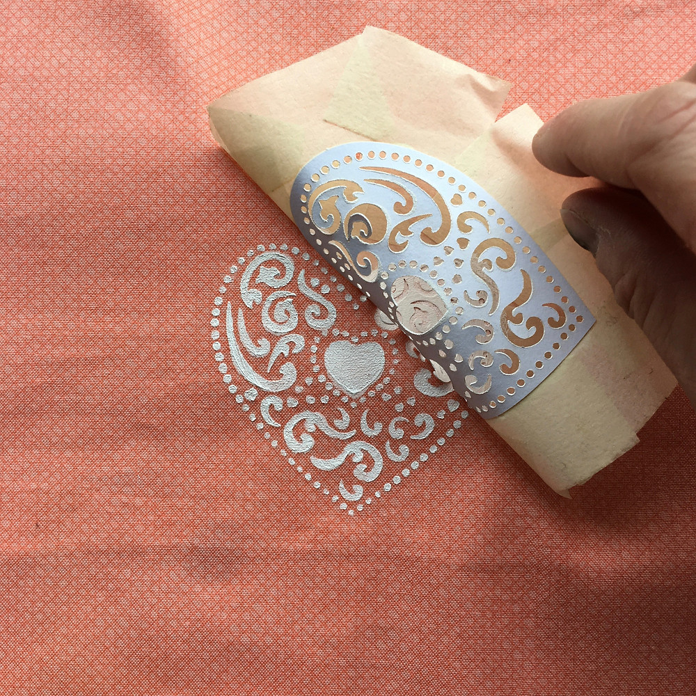 DIY Lampshade tutorial - printing a heart motif - Step 8