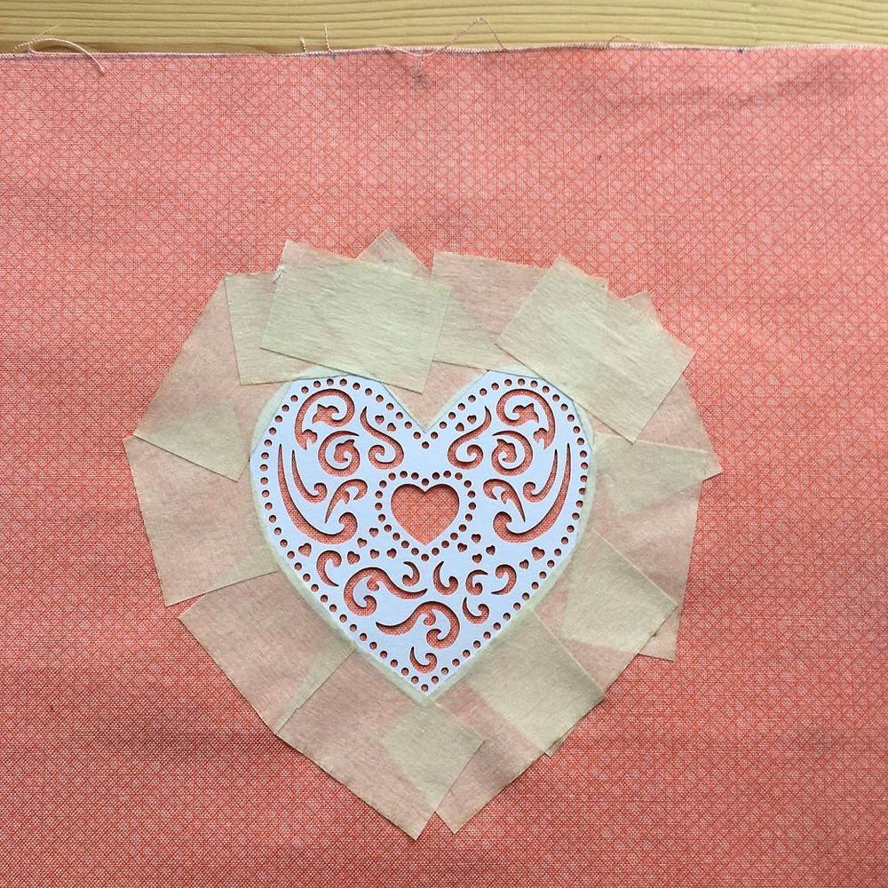 DIY Lampshade tutorial - printing a heart motif - Step 6