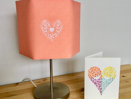 Valentines DIY - How to make a printed heart motif lampshade