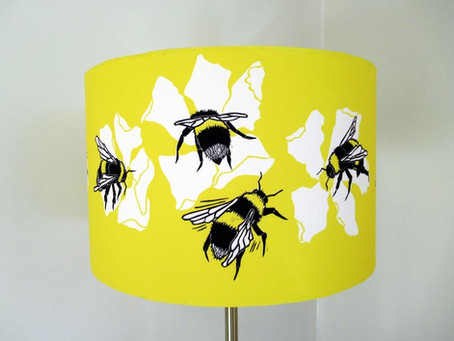 'Bee happy' lampshade with a vinyl interior by Three Bears Prints