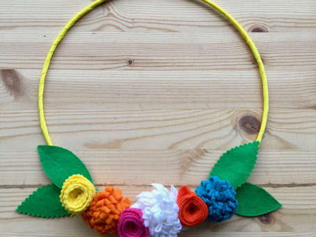DIY tutorial - Felt Flower Easter Wreath