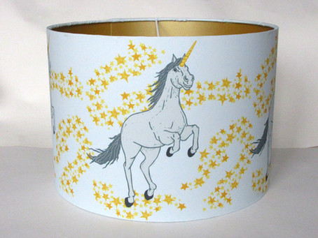 Unicorn gold lined lampshade by Three Bears Prints