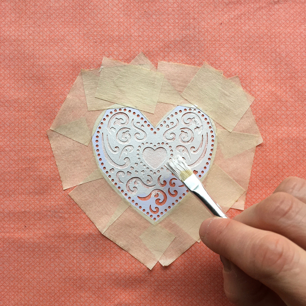 DIY Lampshade tutorial - printing a heart motif - Step 7