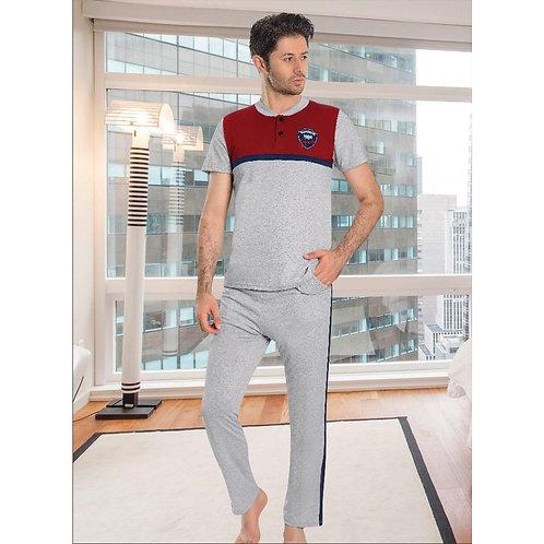 פיג'מה בצבעי אפור אדום במראה ספורטיבי לגבר - שרוול קצר