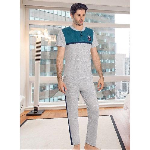 פיג'מה בצבעי אפור כחול במראה ספורטיבי לגבר - שרוול קצר