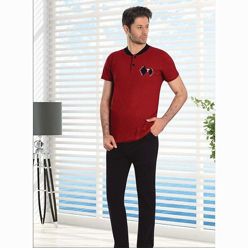 פיג'מה אלגנטית לגבר בצבעי אדום שחור - שרוול קצר
