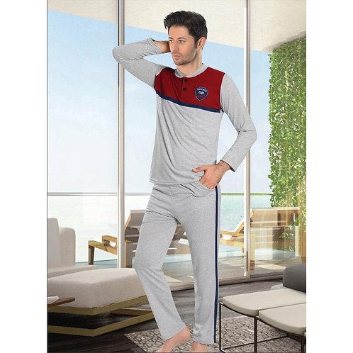 פיג'מה בצבעי אפור-אדום במראה ספורטיבי לגבר