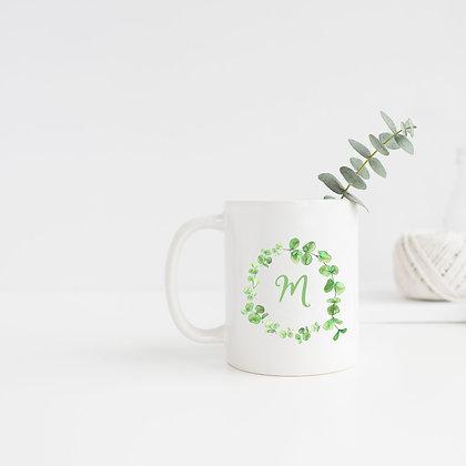 Green Leaf Monogram Wreath Mug