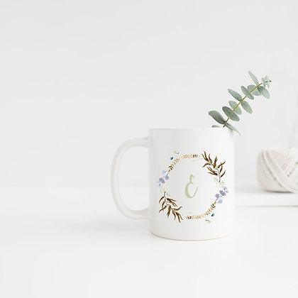 Foliage Monogram Wreath Mug