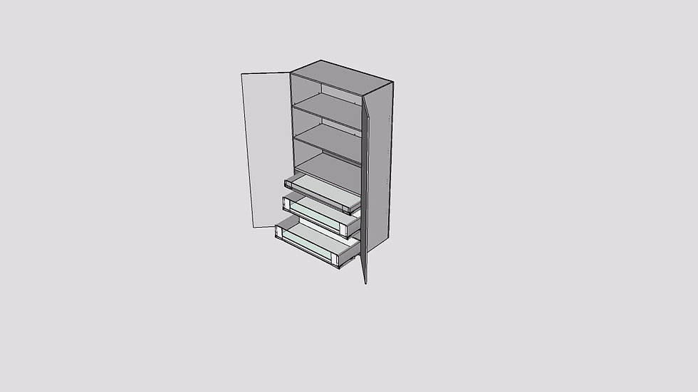 Wood Grain Tall Cabinet 2 Door 3 Inner Drawers