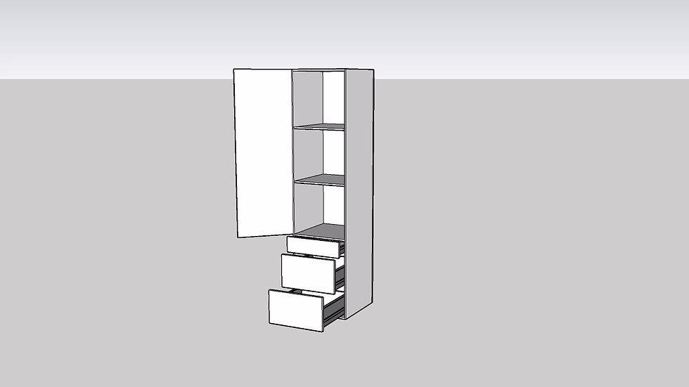 Wood Grain Tall Cabinet 1 Door 3 Drawer