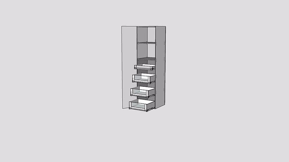 Wood Grain Tall Cabinet 1 Door 4 Inner Drawer