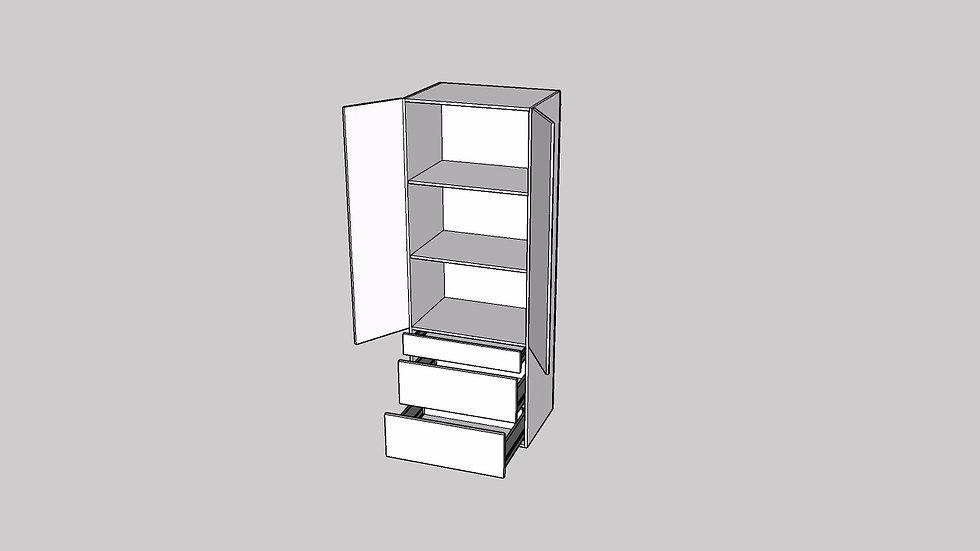 Wood Grain Tall Cabinet 2 Door 3 Drawers