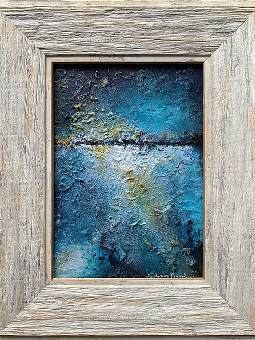 "Golden Blue - Framed Canvas Painting 5""x7"""
