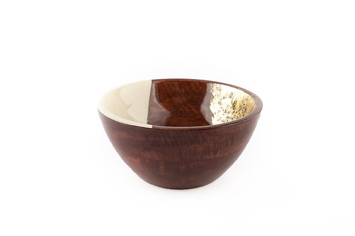 Serving Bowl Wooden White and Gold