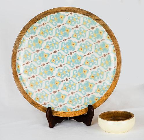 Platter + Small Dipping Bowl Wooden Blue Ikat