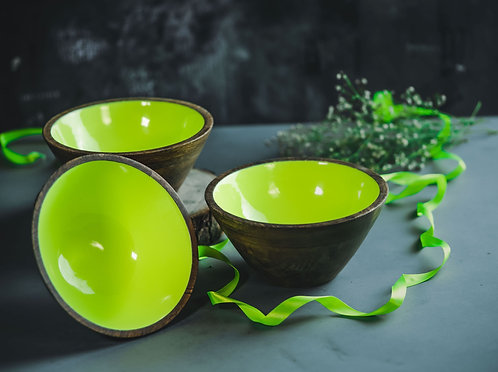 Serving Bowl Wooden Neon Green
