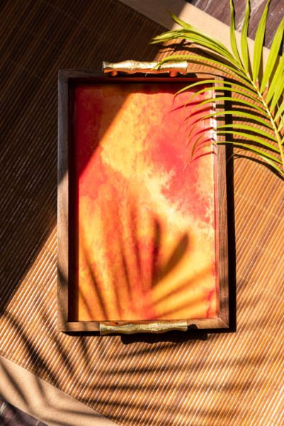 Wooden Tray - Water Colour Red