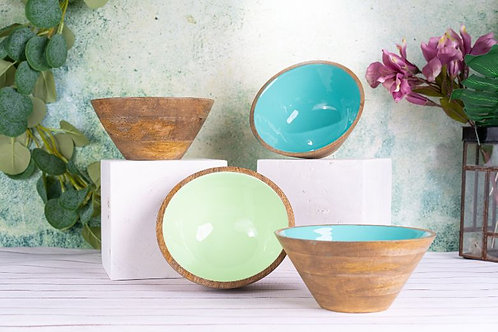 Serving Bowl Wooden Sea Blue