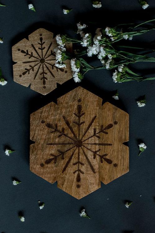 Trivets Wooden Flower Carved