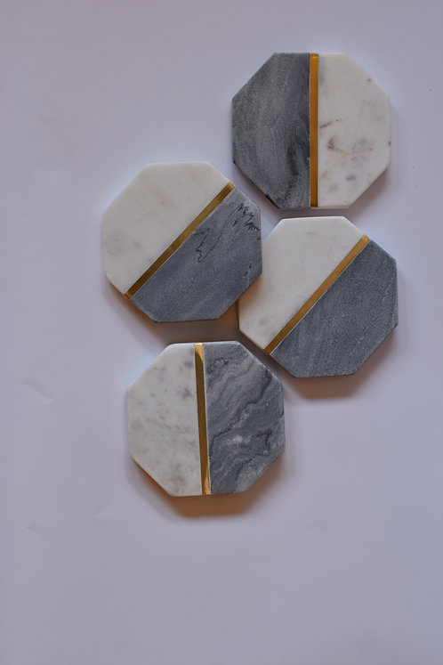 Coasters Marble Hexagon Grey/White