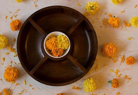 Wooden Round Condiment Bowl