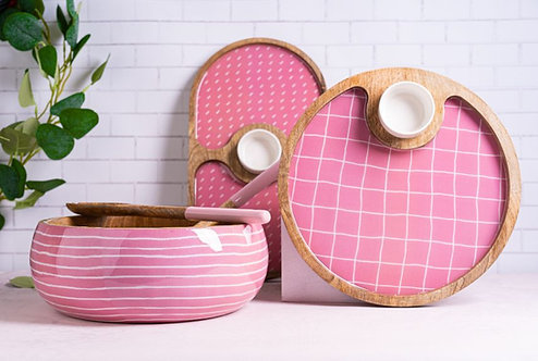 Salad Bowl + Server Set Wooden Blush Pink